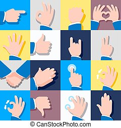 Collection of icons with hand gestures. Vector illustrations.
