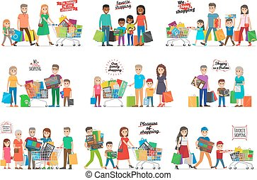 Collection of Icons with Happy Family Shopping