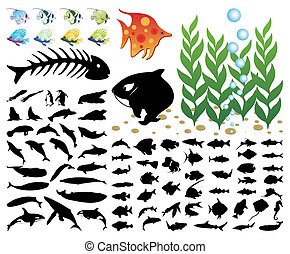 Collection of images on a sea theme. A vector illustration