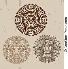 collection of indian tattoos with maya faces - vector...