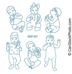 Collection of infant children or babies dressed in various clothes and holding toys and rattles. Set of toddlers in different postures drawn in line art style. Monochrome vector illustration.