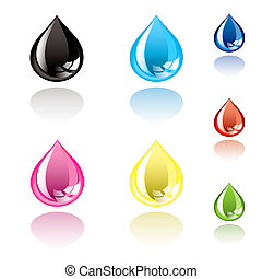 Collection of ink droplets with drop shadow and light reflection