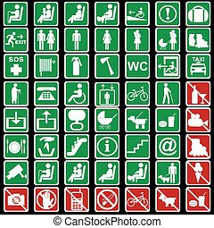 Collection of international signs used in transportation means