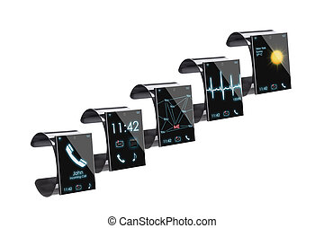 Collection of Internet Smart Watches, isolated on white -- ...