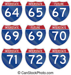 Collection of Interstate highway shields used in the US.