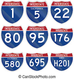 Collection of Interstate route markers used in the USA.
