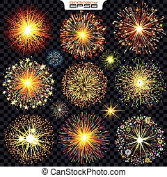 Collection of Isolated Fireworks, Sparks, Explosions