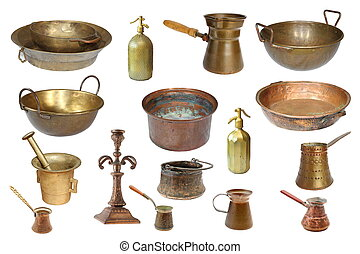collection of isolated vintage copper objects