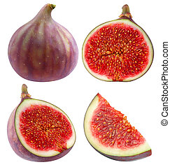 Collection of isolated whole and cut figs
