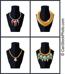 Collection of Jewelry Necklaces Precious Stones