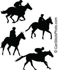 Collection of jockeys silhouette - vector