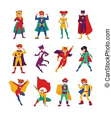 Collection of kids superheroes. Bundle of boys and girls ...