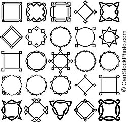 Collection of Knotwork Decorative Ornamental Border Frames. Ideal for label designs.