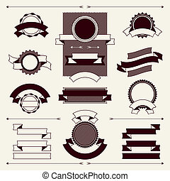 Collection of labels and ribbons in retro vintage style.