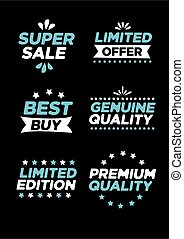 Collection of labels and symbols with super sale, limited offer, best buy, genuine quality, limited edition and premium quality.