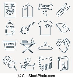 Collection of laundry icons