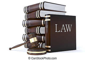 collection of law books and gavel - 3d render of a...
