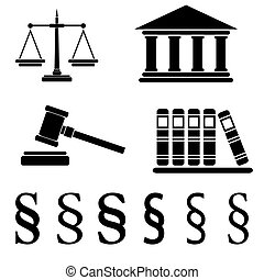 Collection of law icons isolated on white background, vector illustration