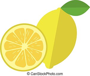 Collection of lemons, isolated on white background, vector illustration