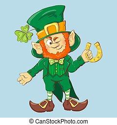 Collection of Leprechaun for Saint Patricks design. Vector...