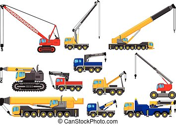 collection of Lifting crane cartoon - vector illustration of...