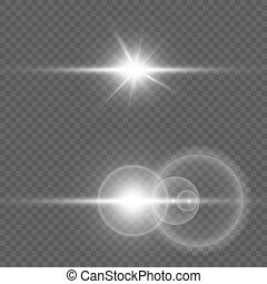 Collection of light effects. Vector transparent sunlight special lens flare effect.
