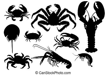 Collection of lobsters silhouette - Collection of isolated...