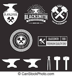 Collection of logo, elements or logotypes for blacksmith and shop