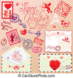 Collection of love mail design elements - stamps, envelops, postcard - Valentine`s Day or Wedding postage set.