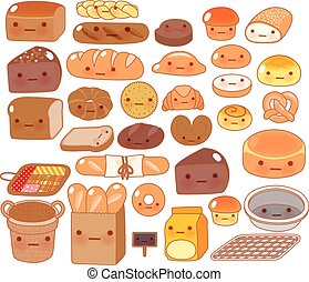 Collection of lovely baby bakery food doodle icon, cute white bread, adorable bun, sweet wheat bread, kawai croissant, girly brown bread in childlike manga cartoon isolated on white