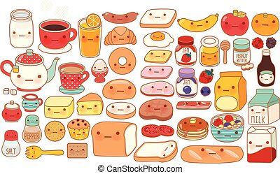 Collection of lovely baby breakfast set doodle icon