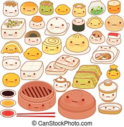 Collection of lovely baby chinese oriental food doodle icon, cute fun go, adorable har gow, sweet dimsum, kawaii shumai , girly dumpling in childlike manga cartoon isolated on white