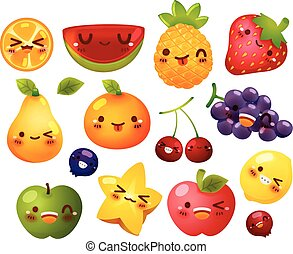 Collection of lovely baby fruit doodle icon, cute strawberry, adorable melon, sweet orange, kawaii berry, girly apple in childlike manga cartoon for kid and baby isolated on white