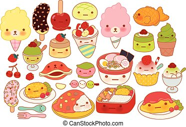Collection of lovely baby japanese food doodle icon, cute omelette, adorable dessert, sweet choco banana, kawaii pudding, girly ramen in childlike manga cartoon isolated on white