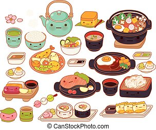 Collection of lovely baby japanese food doodle icon, cute tempura, adorable sashimi, sweet hamburg steak, kawaii maki, girly sukiyaki in childlike manga cartoon isolated on white
