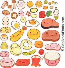 Collection of lovely baby japanese oriental food doodle icon, cute fruit, adorable vegetable, sweet egg, kawaii steak, girly rice bowl, in childlike manga cartoon isolated on white