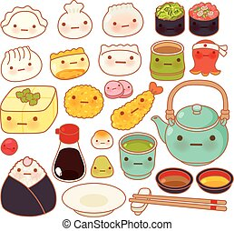Collection of lovely baby japanese oriental food doodle icon, cute sushi, adorable dumpling, sweet tempura, kawaii wonton, girly gyoza in childlike manga cartoon isolated on white