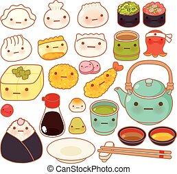 Collection of lovely baby japanese oriental food doodle icon, cute sushi, adorable dumpling, sweet tempura, kawaii wonton, girly gyoza in childlike manga cartoon isolated on white