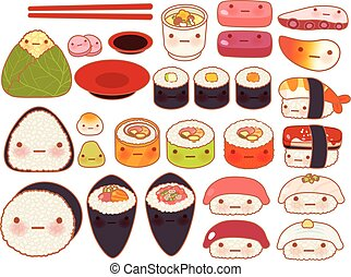 Collection of lovely baby japanese oriental food doodle icon, cute sushi, adorable sashimi, sweet nigiri, kawaii uramaki, girly temaki in childlike manga cartoon isolated on white