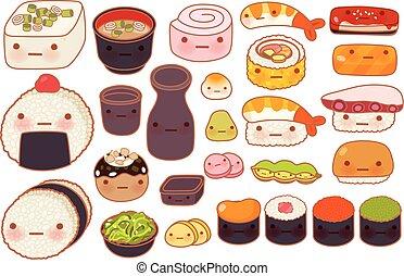 Collection of lovely baby japanese oriental food doodle icon, cute sushi, adorable sashimi, sweet nigiri, kawaii miso soup, girly maki, in childlike manga cartoon isolated on white