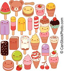 Collection of lovely baby sweet and dessert doodle icon , cute icecream , adorable popsicle , sweet soft cream , kawaii gelato , girly cherry in childlike manga cartoon style - Vector file EPS10