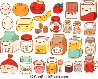Collection of lovely cake ingredient icon , cute egg , adorable milk , sweet flour , kawaii strawberry, girly butter Isolated on white in childlike manga cartoon style