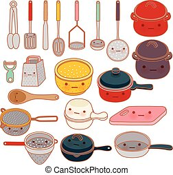 Collection of lovely kitchenware , cute grater , adorable pan , lovely pot Isolated on white in kawaii hand drawn style