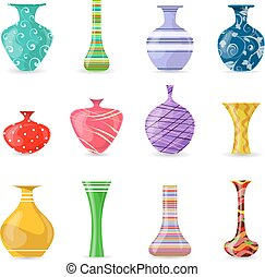 collection of lovely modern colorful vases for your design
