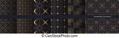Collection of luxury geometric seamless pattern