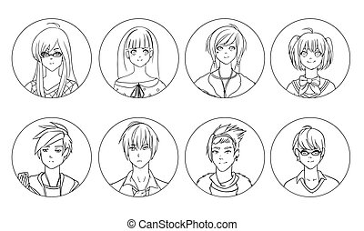 Collection of male and female anime or manga cartoon characters or avatars hand drawn with black contour lines on white background. Set of portraits of young men and women. Vector illustration.