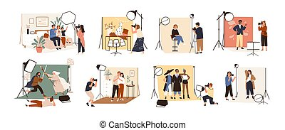 Collection of male and female photographers working at photographic studio and photographing various models during photo session - dog, family, couple, celebrity. Flat cartoon vector illustration