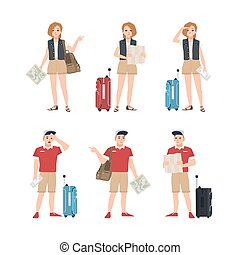 Collection of male and female travelers with map standing in various poses. Set of man and woman tourists trying to find touristic location or destination. Flat cartoon colorful vector illustration.