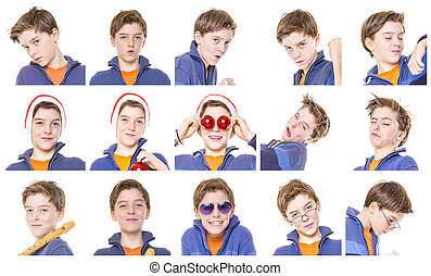 collection of male teenager portraits, isolated on white