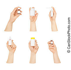Collection of man's hands with a bottle on a white background